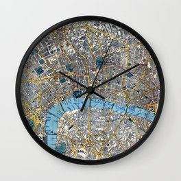 Vintage London Gold Foil Location Coordinates with map Wall Clock