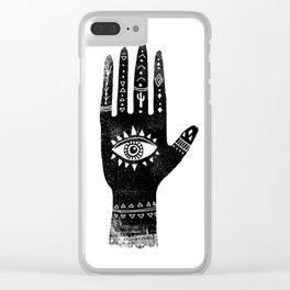 Hand with eye linocut black and white minimal boho third eye hamsa Clear iPhone Case