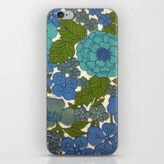 Retro floral sheet blues iPhone & iPod Skin