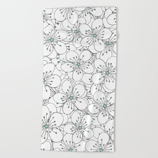 Cherry Blossom Mint Beach Towel