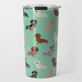 Dachshund dog breed pet pattern doxie coats dapple merle red black and tan Travel Mug