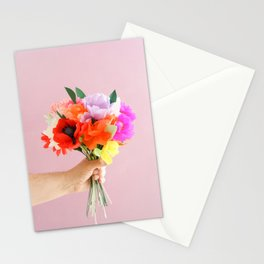 Hand holding paper flowers Stationery Cards