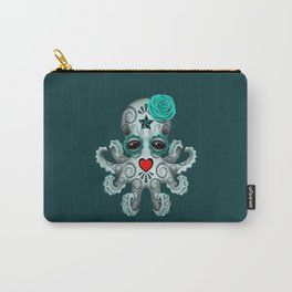 Teal Blue Day of the Dead Sugar Skull Baby Octopus Carry-All Pouch