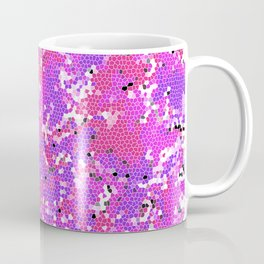 Magenta Squashed Frog in a Sea of Hot Pink, Mauve and Purple Stained Glass Effect Abstract Art Coffee Mug