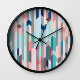 Blue & Pink Chevron Pattern Wall Clock