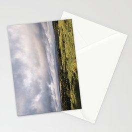 Gorse bushes on a hilltop at sunset. Derbyshire, UK. Stationery Cards