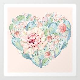 Cactus Rose Heart on Pink Art Print