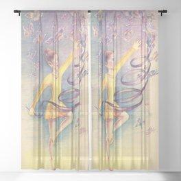 Butterfly fairy-girl Sheer Curtain