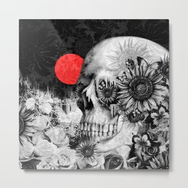 Fire in the dark, nature skull Metal Print