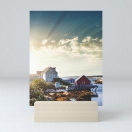 peggy's cove village Mini Art Print