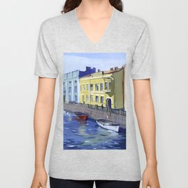 Cityscape of the embankment of the pavement with the river channel. Unisex V-Neck