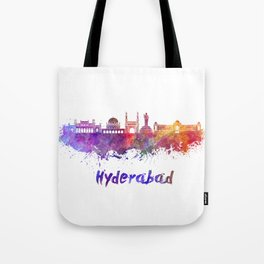 Hyderabad skyline in watercolor Tote Bag