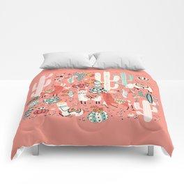 Lama in cactus jungles Comforters
