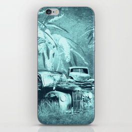 cars and butterflies in moonlight iPhone Skin