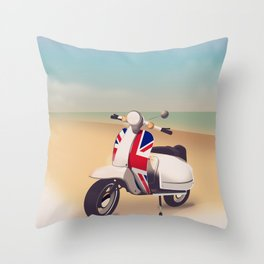 Union Jack Scooter Travel poster, Throw Pillow