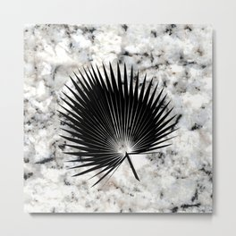 Tropical Leaves on Marble - Fan Palm Metal Print