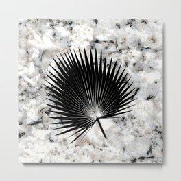 Tropical Leaves on Marble - Fan Palm Metal Print