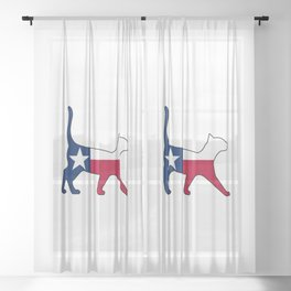 State of Texas Flag for Cat Lovers Sheer Curtain