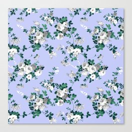 Vintage lavender white emerald green floral Canvas Print