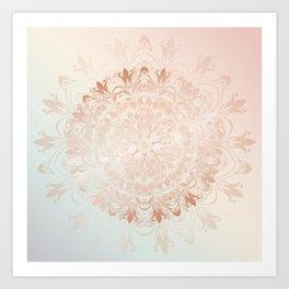 Rose Gold Blush Mint Floral Mandala Art Print