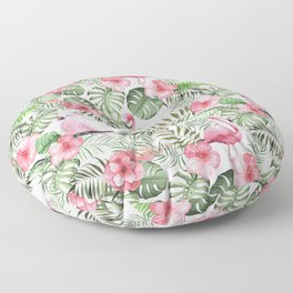 Watercolor Tropical Leaves Flowers Flamingo Cockatoo Floor Pillow