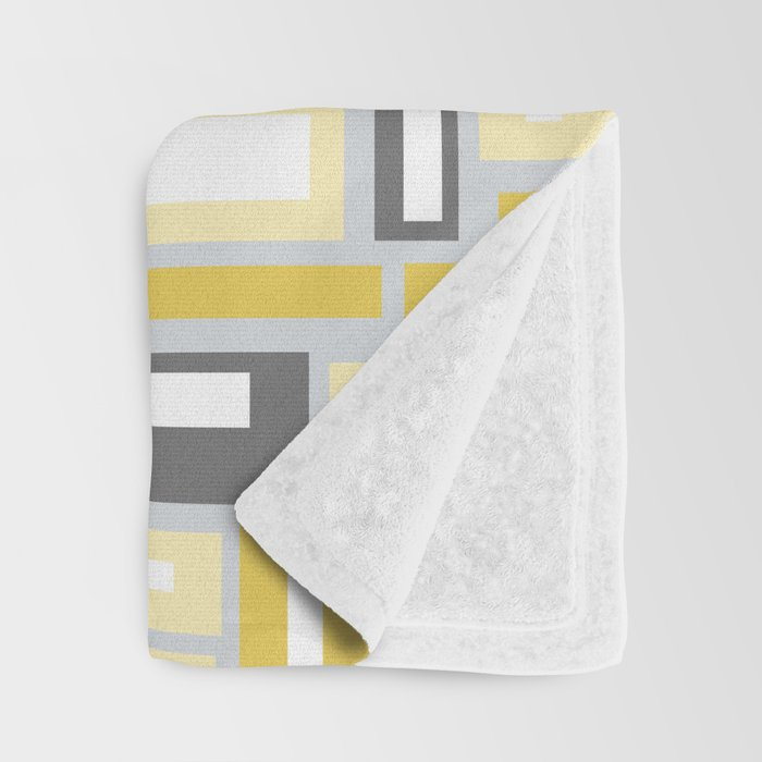 Simple Geometric Pattern in Yellow and Gray Throw Blanket