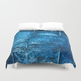 Blue Metal Plates Duvet Cover