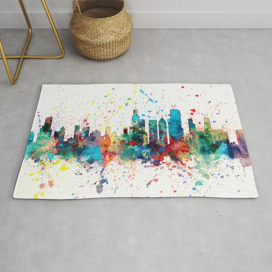 Chicago Illinois Skyline Rug By Artpause Society6
