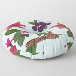 Red lily, snake and plum tree pattern Floor Pillow