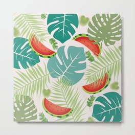 Tropical red green watermelon fruit floral Metal Print