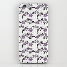 Floral pattern on black mesh . iPhone & iPod Skin