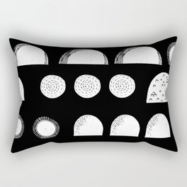 Linocut black and white minimal shapes half moons mounds abstract Rectangular Pillow
