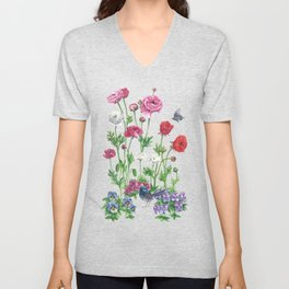 Poppys&Blue Wren Unisex V-Neck