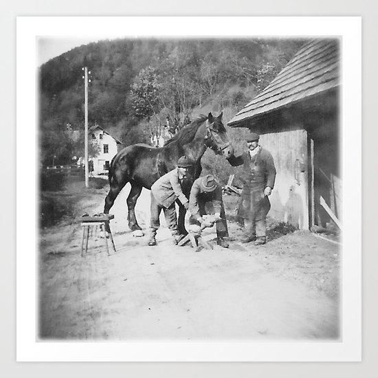 Blacksmith at work Art Print