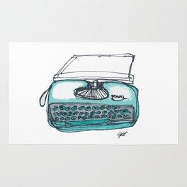 """""""Type"""" Hand Drawn Typewriter Teal Rug"""