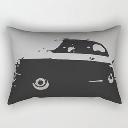 Fiat 500 classic, Gray on Black Rectangular Pillow