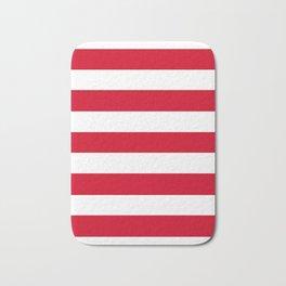 Blood orange - solid color - white stripes pattern Bath Mat