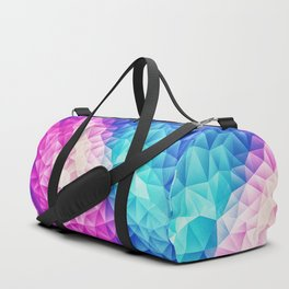 Pink - Ice Blue / Abstract Polygon Crystal Cubism Low Poly Triangle Design Duffle Bag