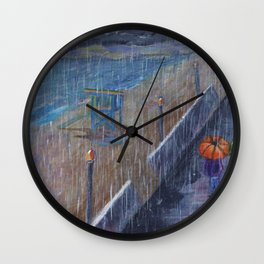 Hermosa Beach Rain Wall Clock