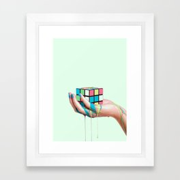 MELTING RUBIKS CUBE Framed Art Print