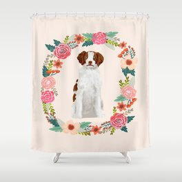 brittany spaniel dog floral wreath dog gifts pet portraits Shower Curtain