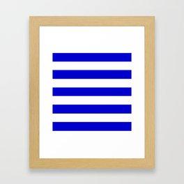 Medium blue - solid color - white stripes pattern Framed Art Print