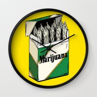 marijuana Wall Clocks featuring Mainstream Marijuana by Kelsey Dake