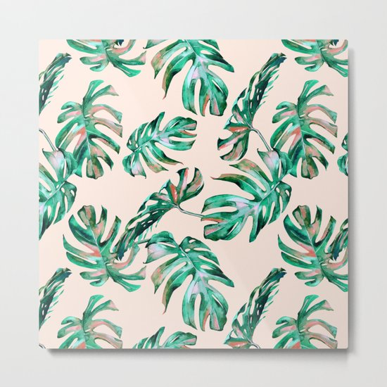 Tropical Palm Leaves Coral Greenery Metal Print