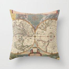 1672 World Polar Projection Map  Throw Pillow