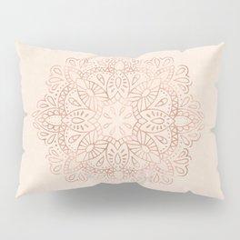 Mandala Rose Gold Pink Shimmer on Light Cream Pillow Sham