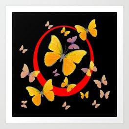 YELLOW BUTTERFLIES & RED RING  ABSTRACT ART Art Print