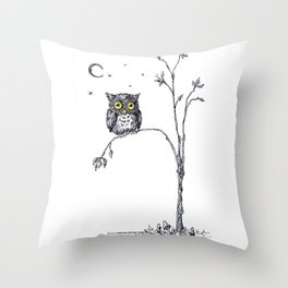 owl in the moonlight under the stars too big for his little tree Throw Pillow