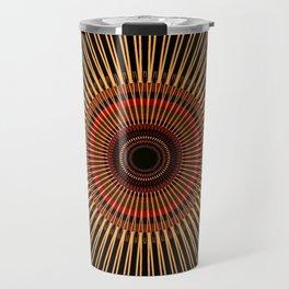 RAYS - gold earth-tone lines on black mandala Travel Mug