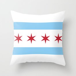 Chicago Flag, Official Flag of the City of Chicago Throw Pillow
